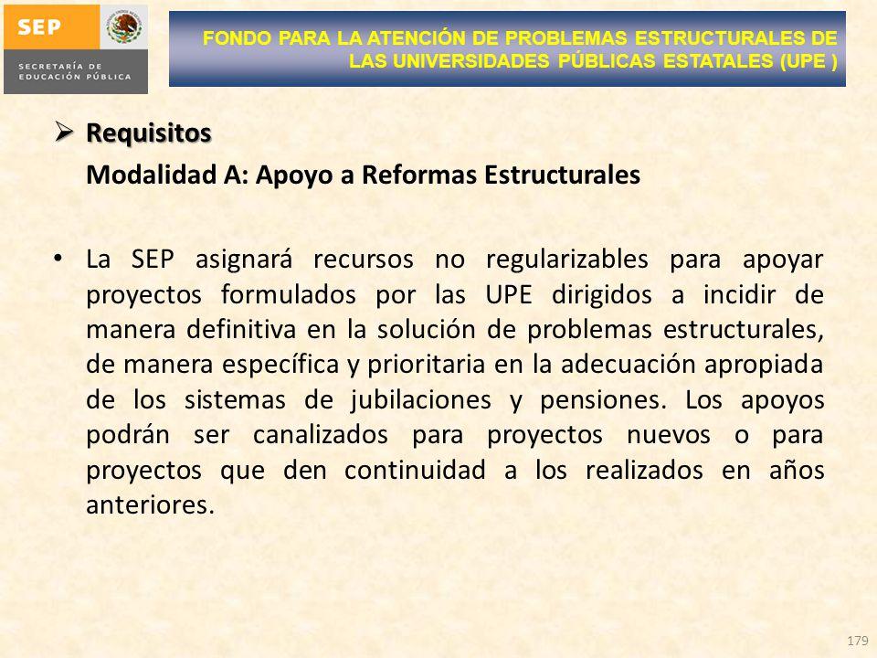 Modalidad A: Apoyo a Reformas Estructurales