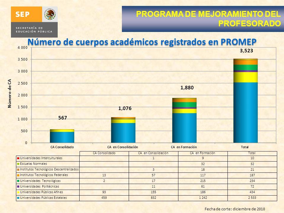 Número de cuerpos académicos registrados en PROMEP