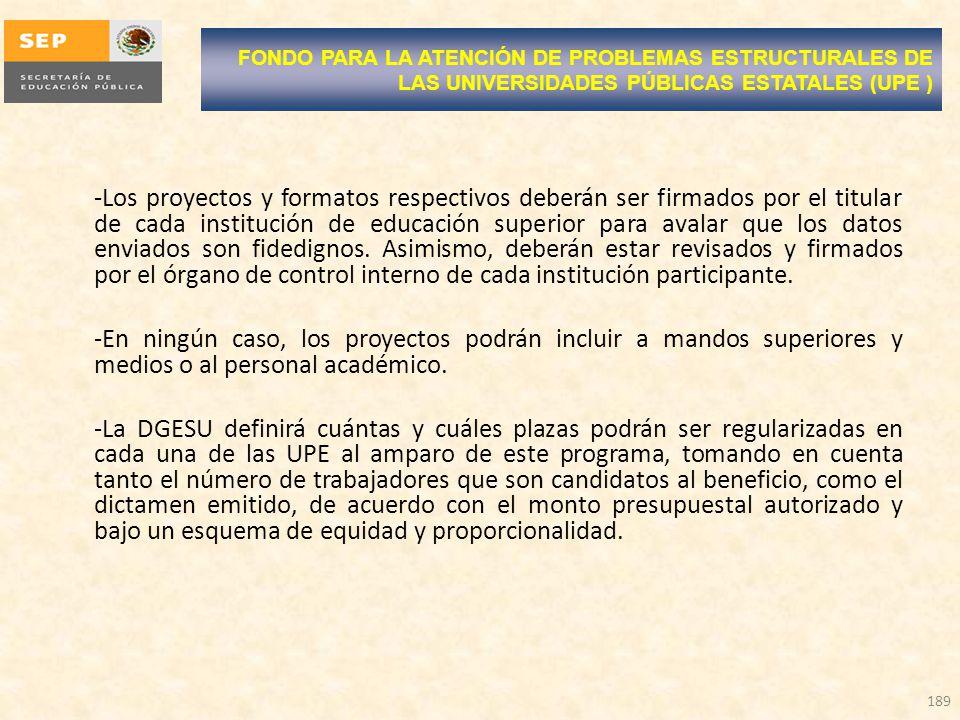 FONDO PARA LA ATENCIÓN DE PROBLEMAS ESTRUCTURALES DE LAS UNIVERSIDADES PÚBLICAS ESTATALES (UPE )