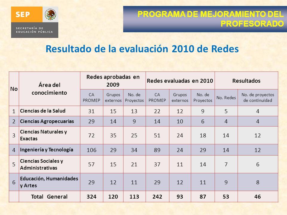 Resultado de la evaluación 2010 de Redes