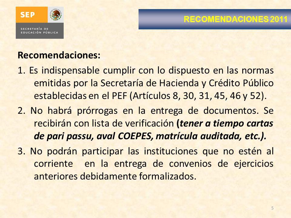 RECOMENDACIONES 2011