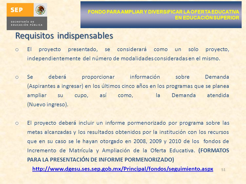 Requisitos indispensables