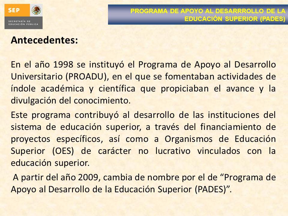 PROGRAMA DE APOYO AL DESARRROLLO DE LA EDUCACIÓN SUPERIOR (PADES)