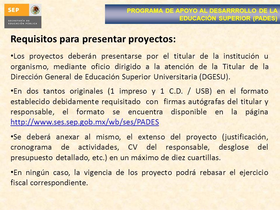 Requisitos para presentar proyectos: