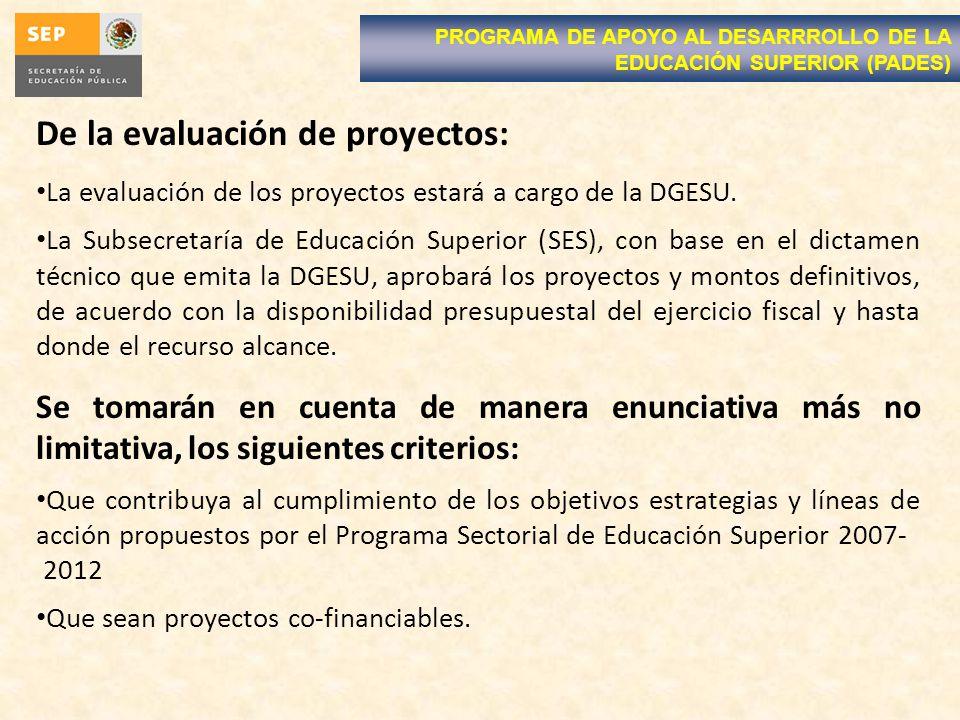 De la evaluación de proyectos: