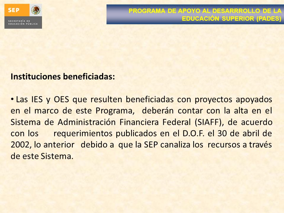 Instituciones beneficiadas:
