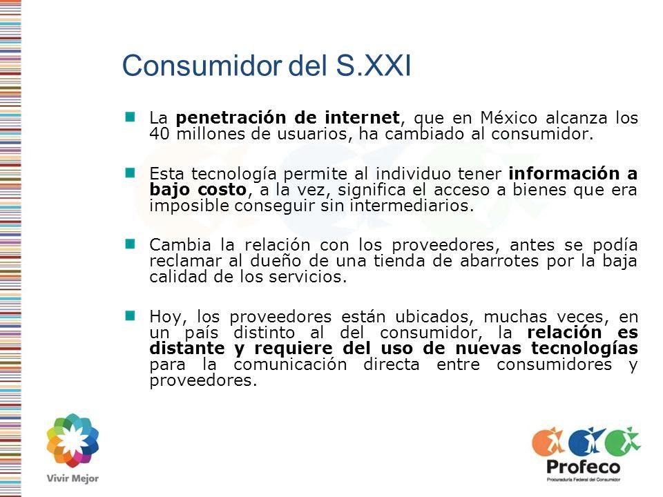 Consumidor del S.XXI La penetración de internet, que en México alcanza los 40 millones de usuarios, ha cambiado al consumidor.