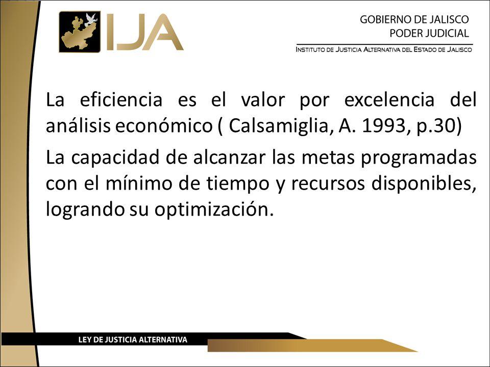La eficiencia es el valor por excelencia del análisis económico ( Calsamiglia, A.