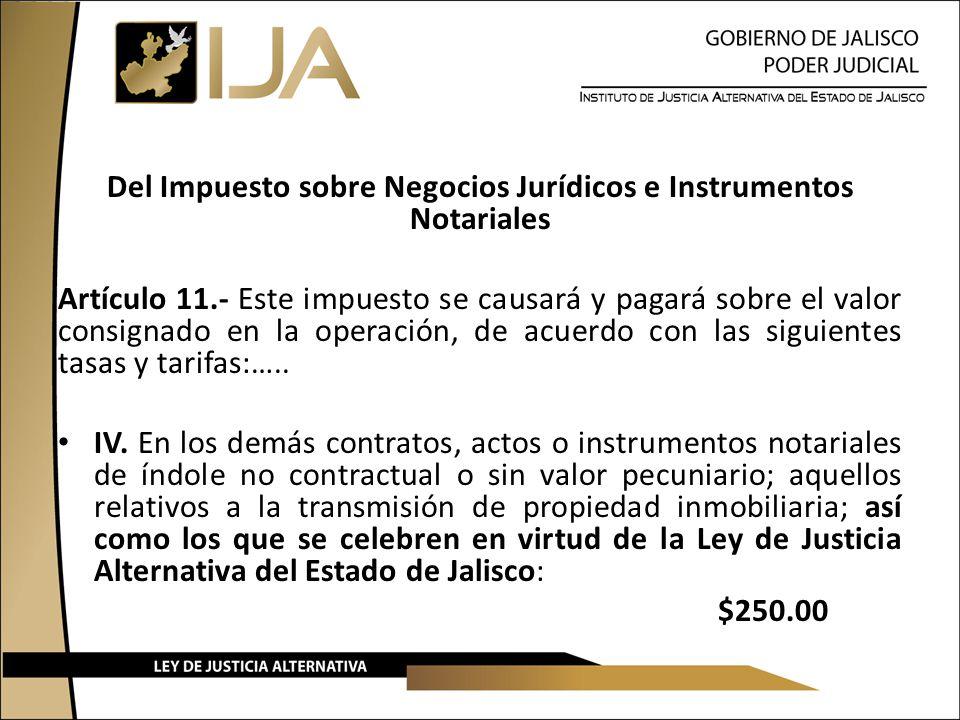Del Impuesto sobre Negocios Jurídicos e Instrumentos Notariales