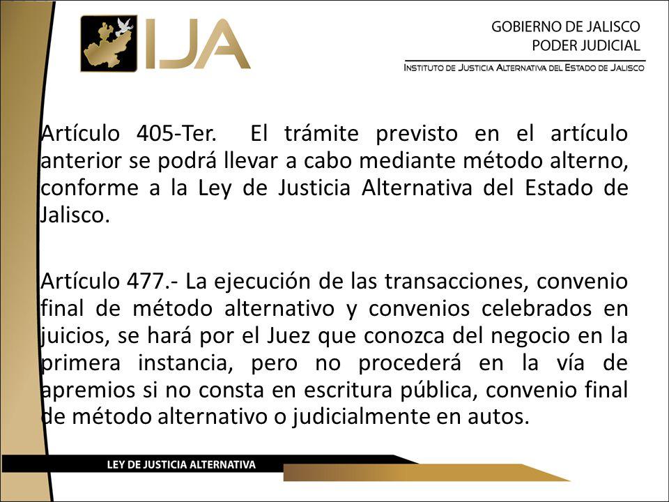 Artículo 405-Ter. El trámite previsto en el artículo anterior se podrá llevar a cabo mediante método alterno, conforme a la Ley de Justicia Alternativa del Estado de Jalisco.