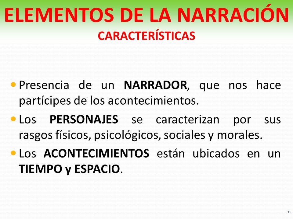 ELEMENTOS DE LA NARRACIÓN CARACTERÍSTICAS