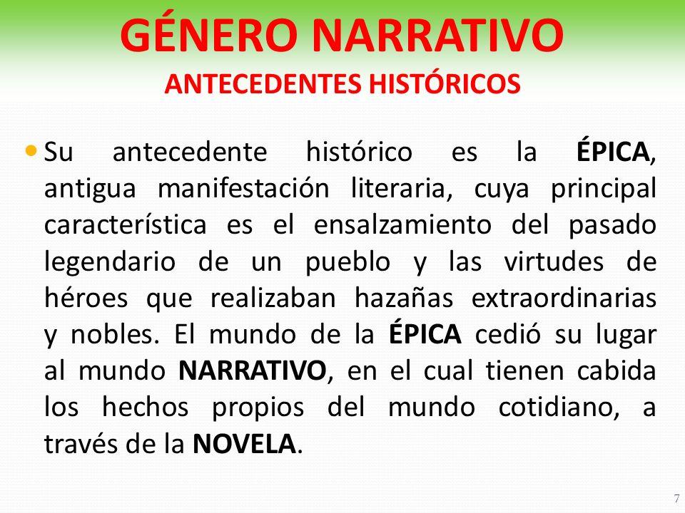 GÉNERO NARRATIVO ANTECEDENTES HISTÓRICOS