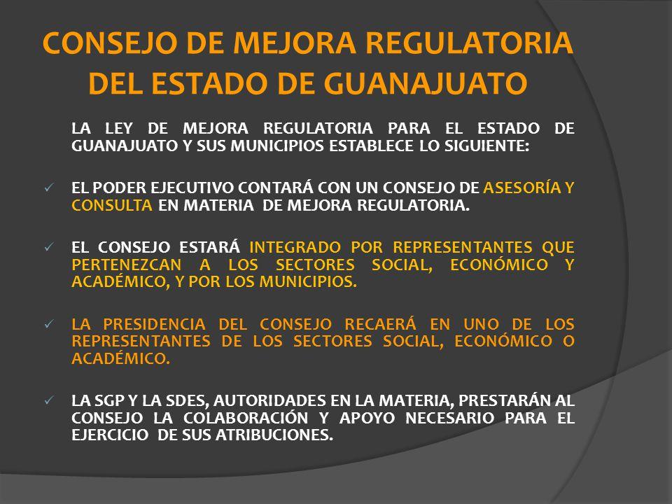 CONSEJO DE MEJORA REGULATORIA DEL ESTADO DE GUANAJUATO
