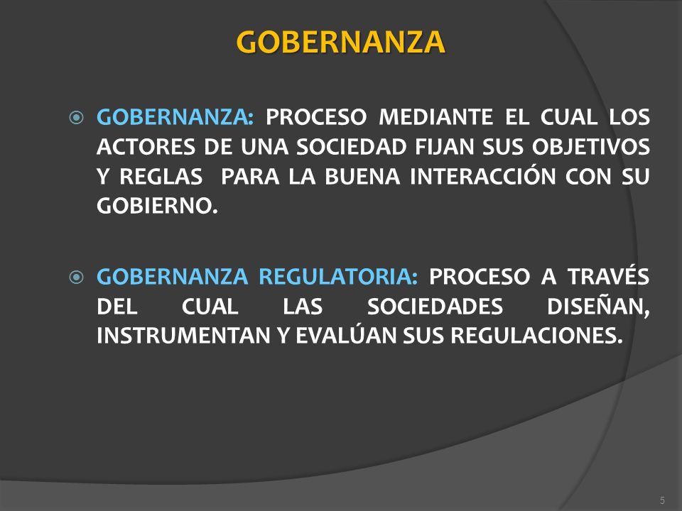 GOBERNANZA GOBERNANZA: PROCESO MEDIANTE EL CUAL LOS ACTORES DE UNA SOCIEDAD FIJAN SUS OBJETIVOS Y REGLAS PARA LA BUENA INTERACCIÓN CON SU GOBIERNO.