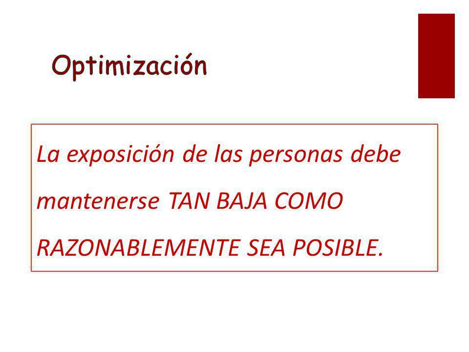 Optimización La exposición de las personas debe mantenerse TAN BAJA COMO RAZONABLEMENTE SEA POSIBLE.