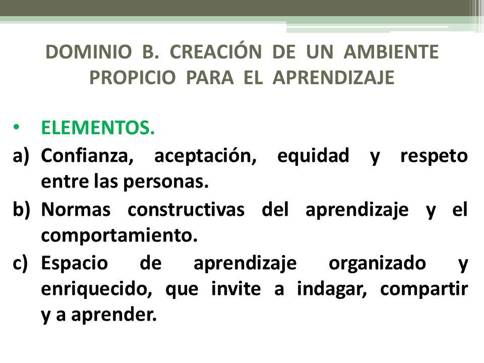 DOMINIO B. CREACIÓN DE UN AMBIENTE PROPICIO PARA EL APRENDIZAJE