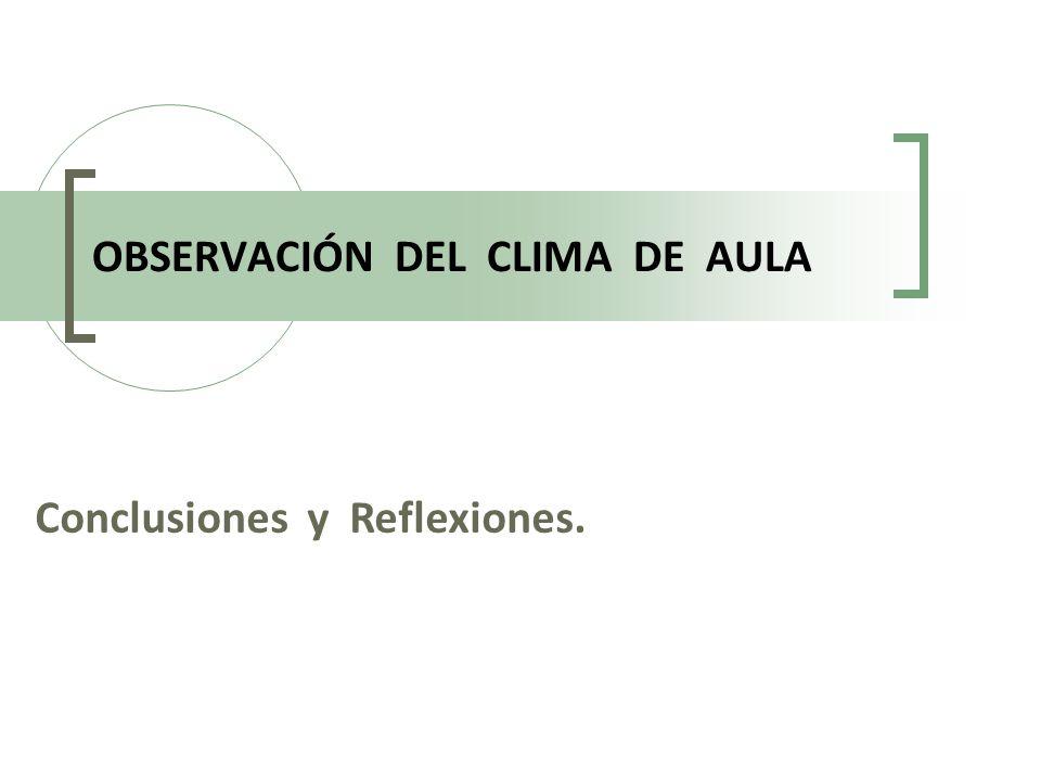 OBSERVACIÓN DEL CLIMA DE AULA