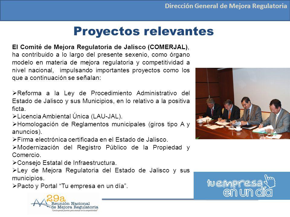 Proyectos relevantes Dirección General de Mejora Regulatoria