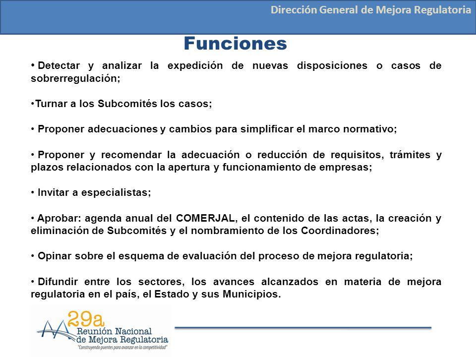 Funciones Dirección General de Mejora Regulatoria