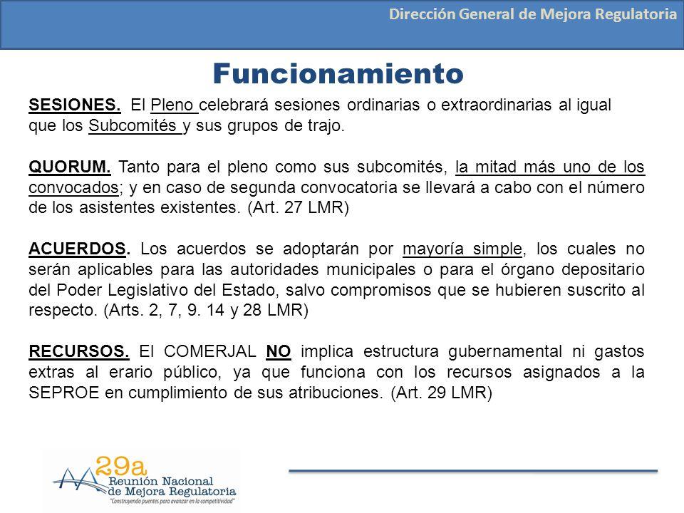 Funcionamiento Dirección General de Mejora Regulatoria