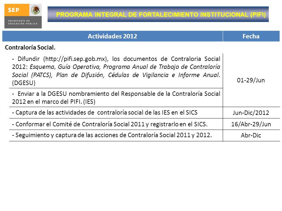 Actividades 2012 Fecha Contraloría Social.