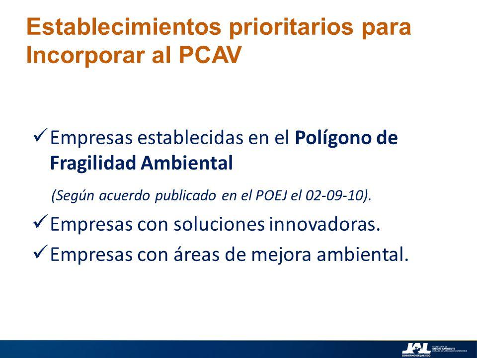 Establecimientos prioritarios para Incorporar al PCAV