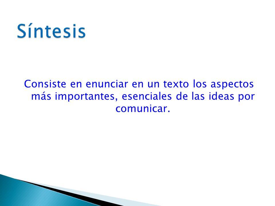 SíntesisConsiste en enunciar en un texto los aspectos más importantes, esenciales de las ideas por comunicar.