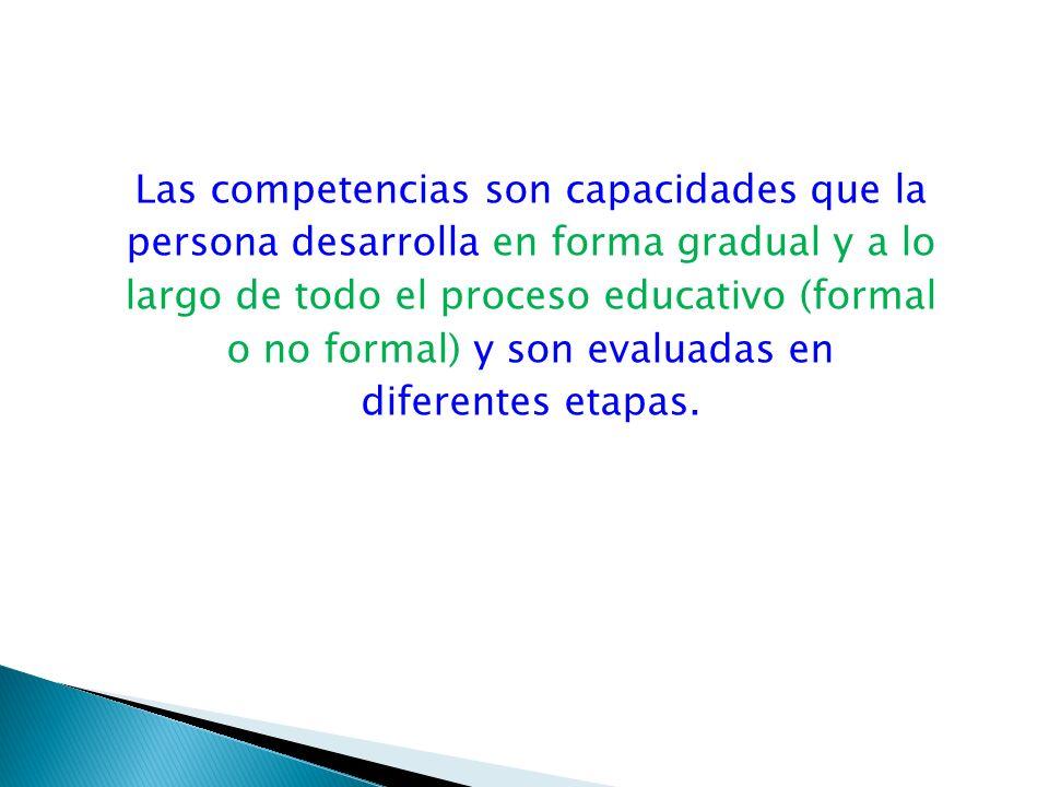 Las competencias son capacidades que la persona desarrolla en forma gradual y a lo largo de todo el proceso educativo (formal o no formal) y son evaluadas en diferentes etapas.