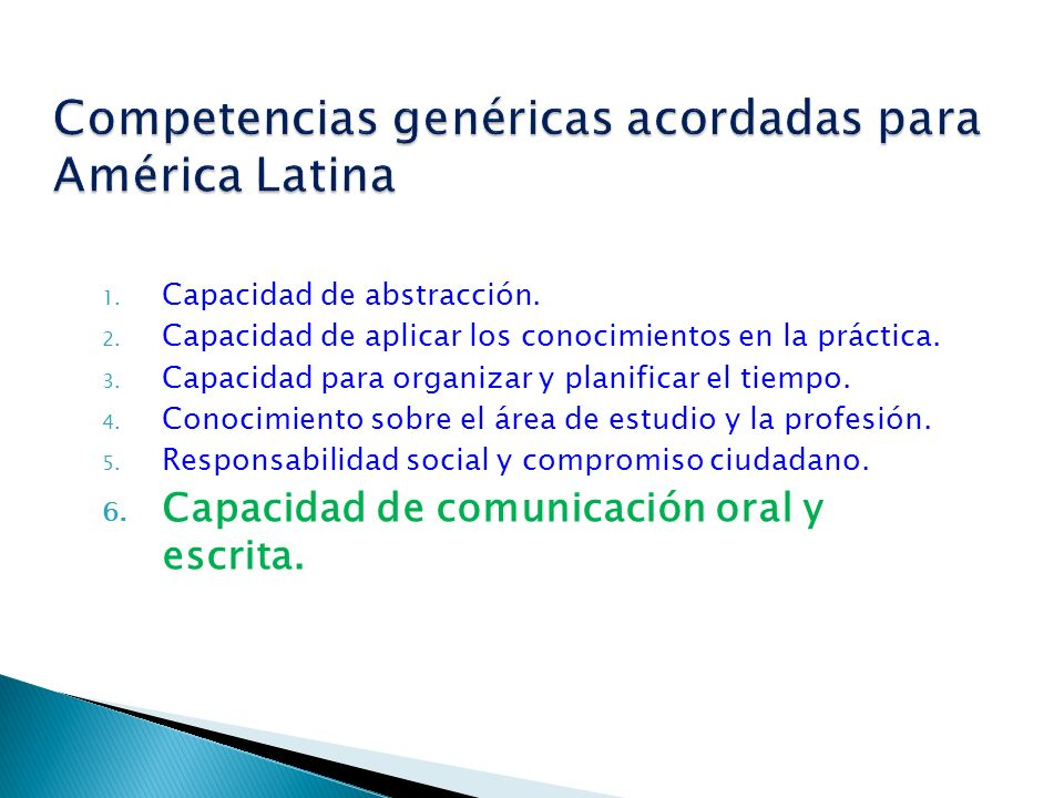 Competencias genéricas acordadas para América Latina