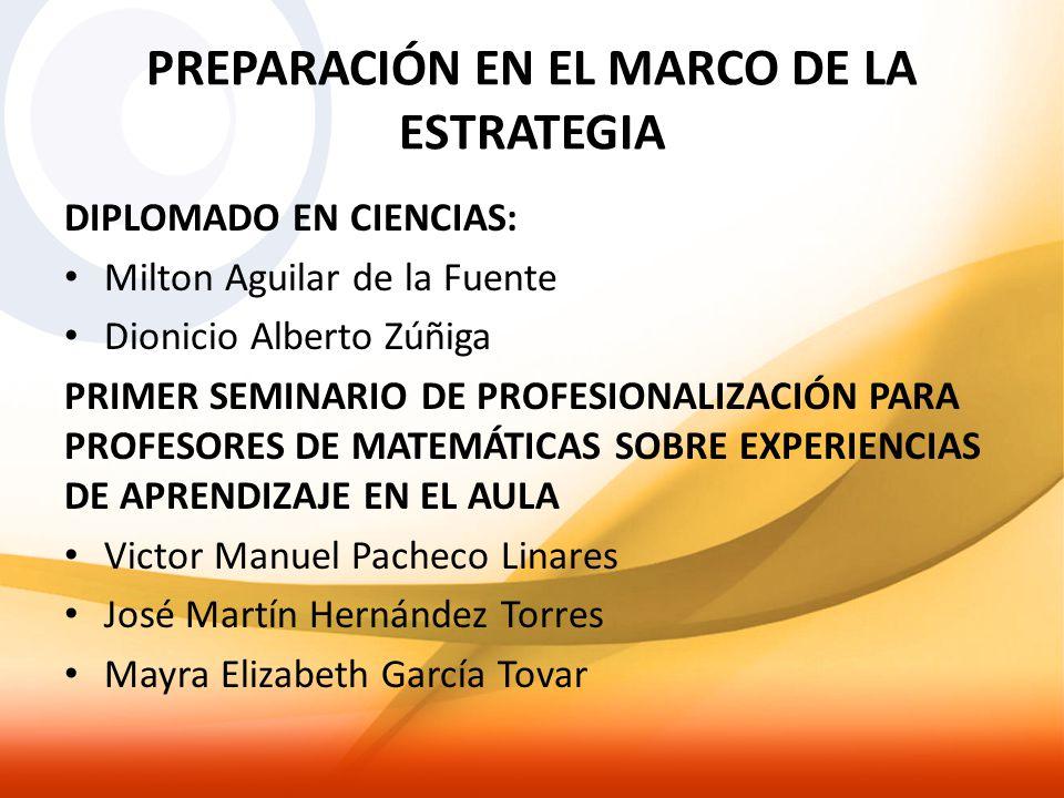 PREPARACIÓN EN EL MARCO DE LA ESTRATEGIA