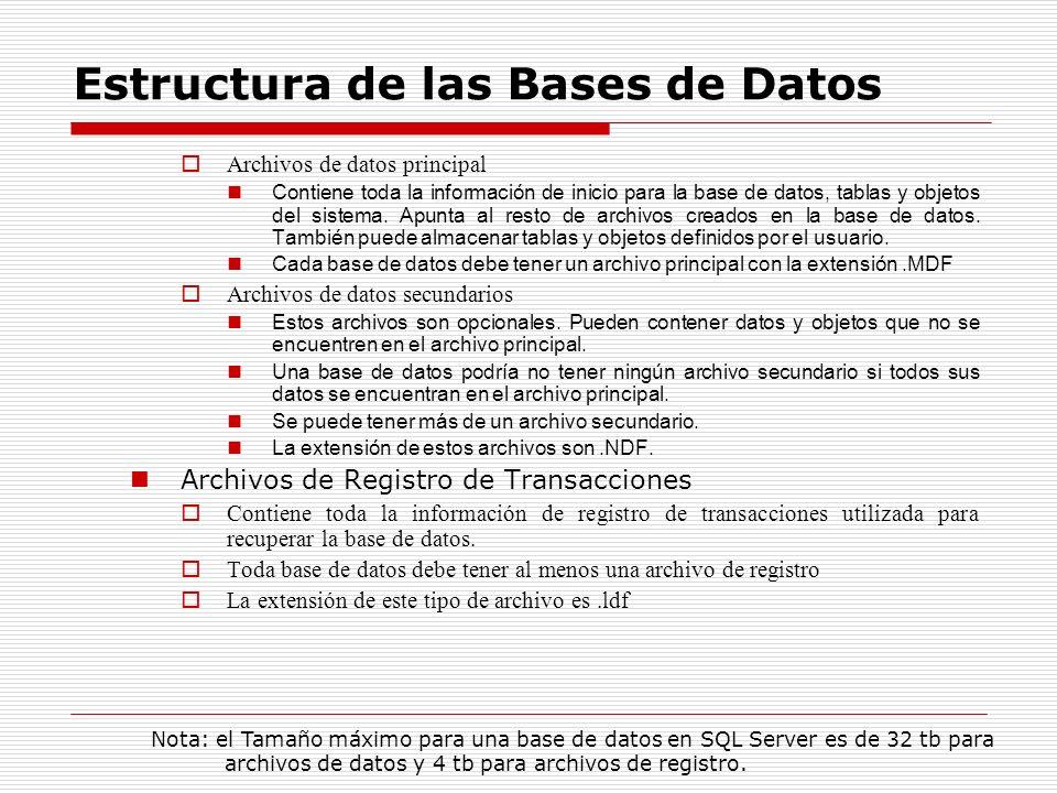 Estructura de las Bases de Datos