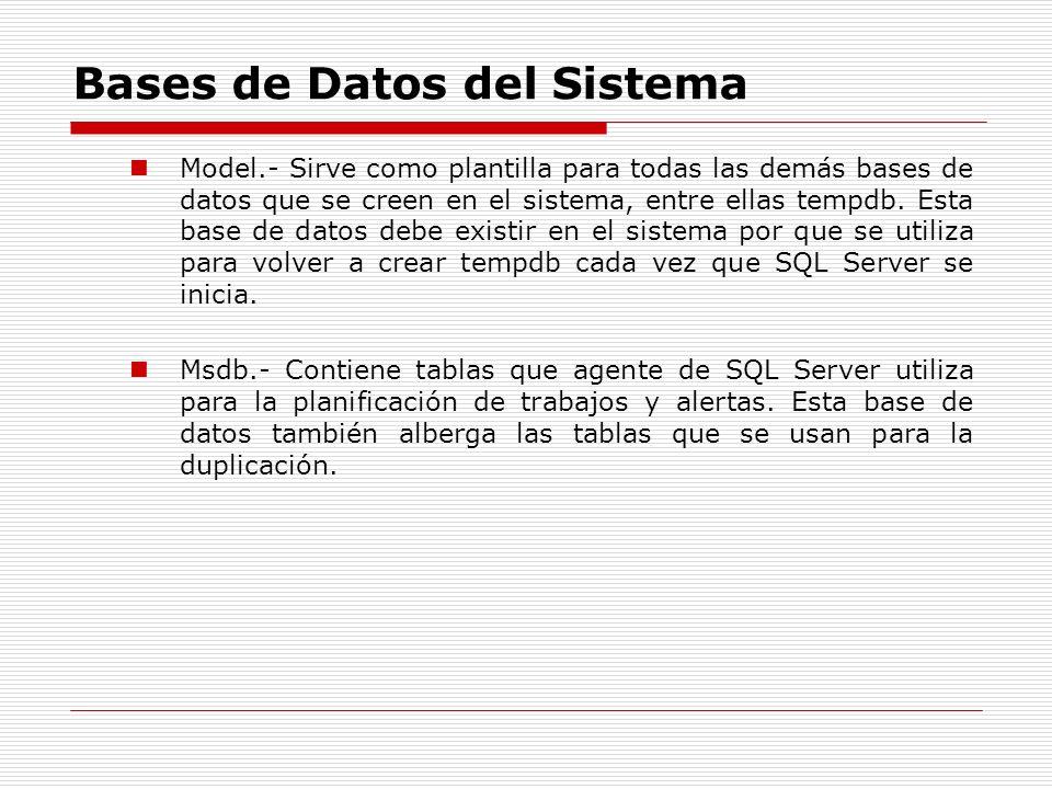 Bases de Datos del Sistema