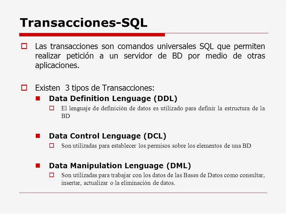 Transacciones-SQL Las transacciones son comandos universales SQL que permiten realizar petición a un servidor de BD por medio de otras aplicaciones.