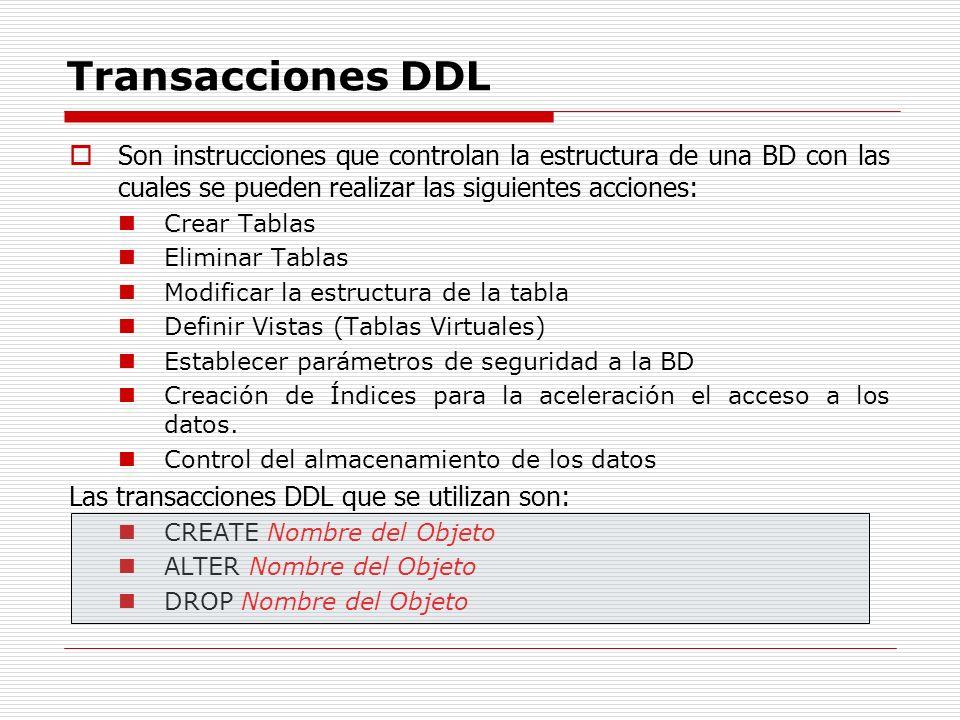 Transacciones DDLSon instrucciones que controlan la estructura de una BD con las cuales se pueden realizar las siguientes acciones: