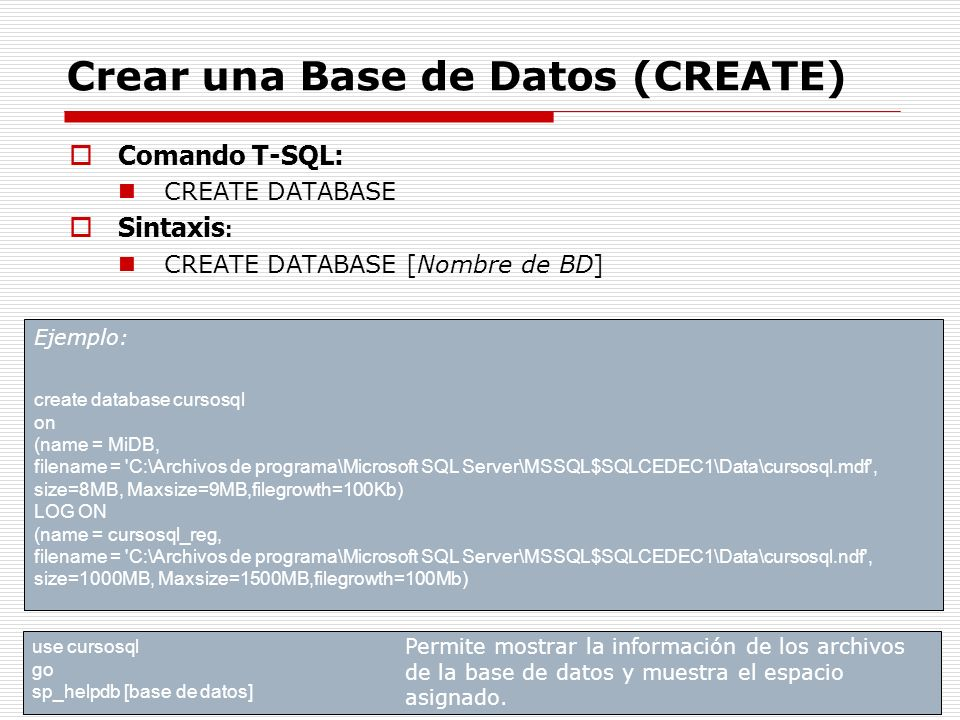 Crear una Base de Datos (CREATE)