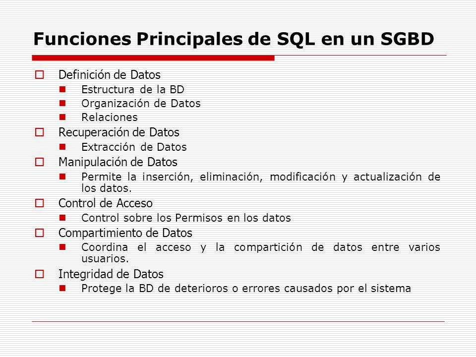 Funciones Principales de SQL en un SGBD