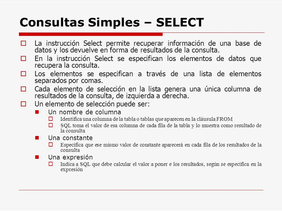 Consultas Simples – SELECT
