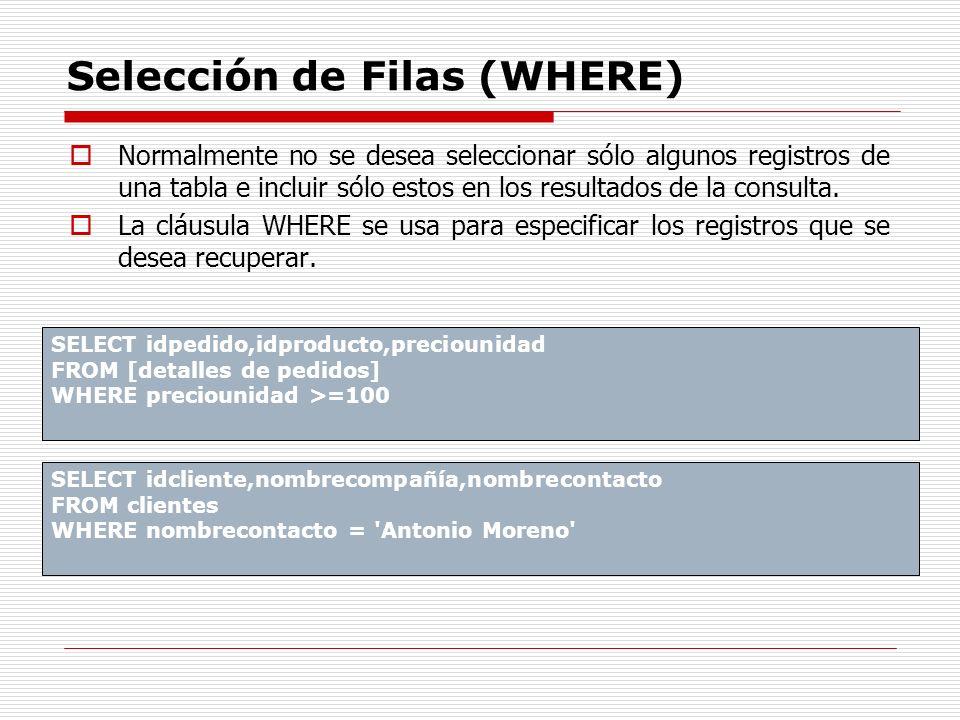 Selección de Filas (WHERE)