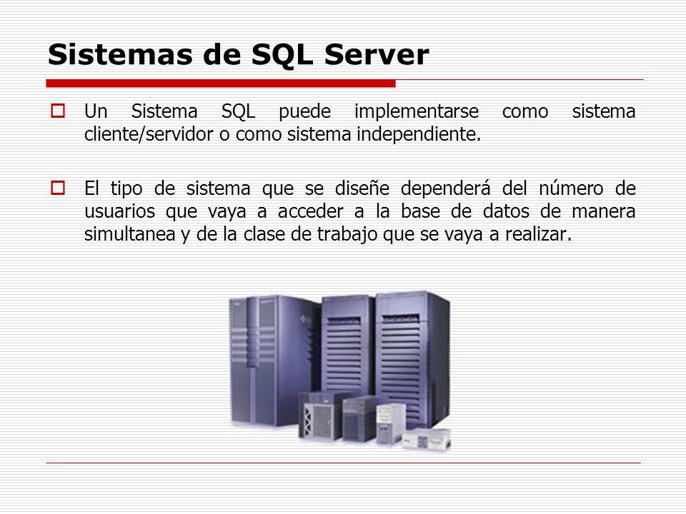 Sistemas de SQL Server Un Sistema SQL puede implementarse como sistema cliente/servidor o como sistema independiente.