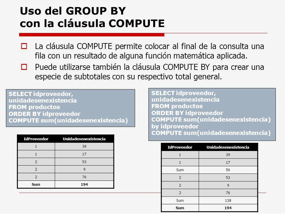 Uso del GROUP BY con la cláusula COMPUTE