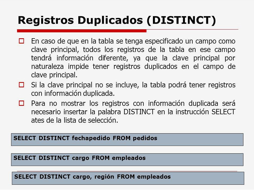 Registros Duplicados (DISTINCT)