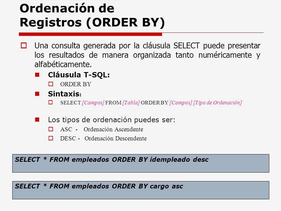 Ordenación de Registros (ORDER BY)