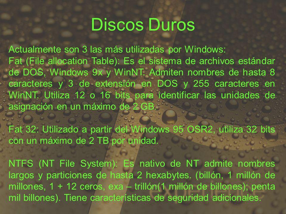 Discos Duros Actualmente son 3 las más utilizadas por Windows: