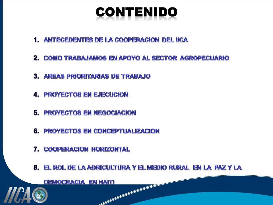 CONTENIDO . ANTECEDENTES DE LA COOPERACION DEL IICA