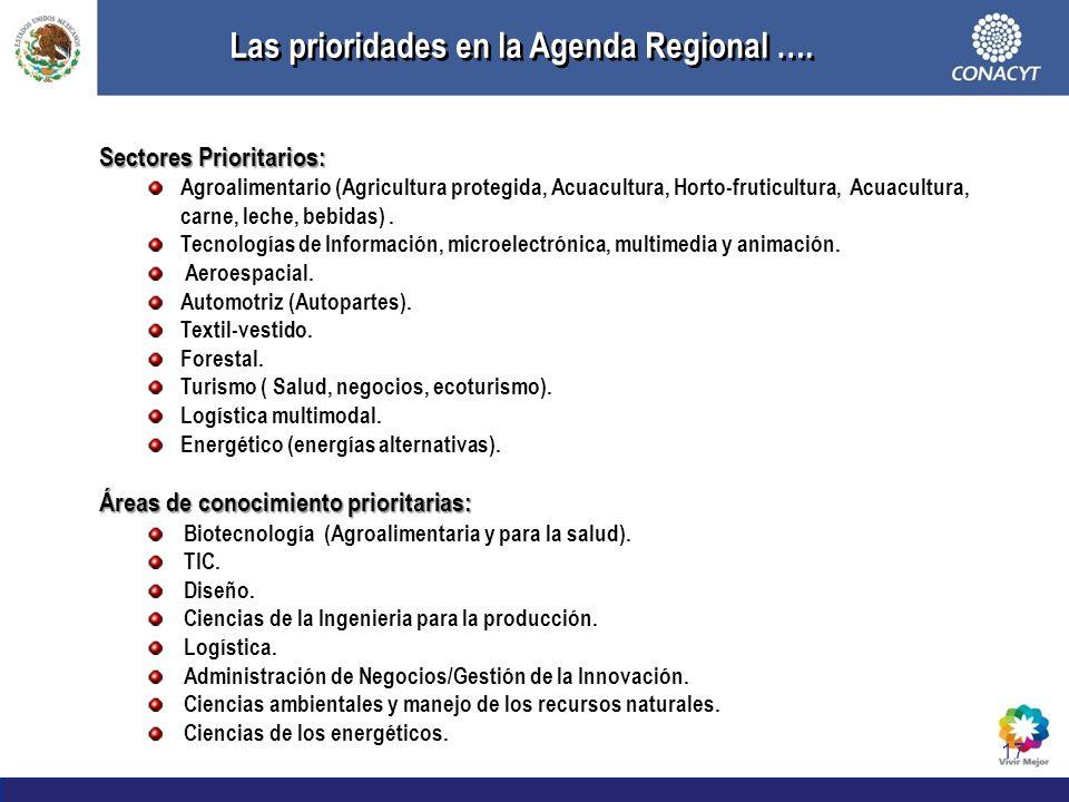 Las prioridades en la Agenda Regional ….