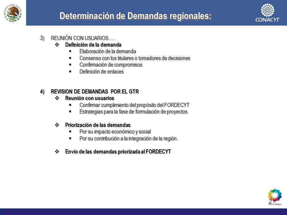 Determinación de Demandas regionales: