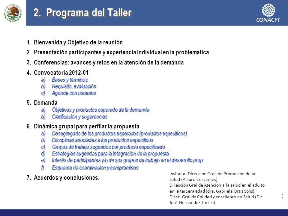 2. Programa del Taller Bienvenida y Objetivo de la reunión