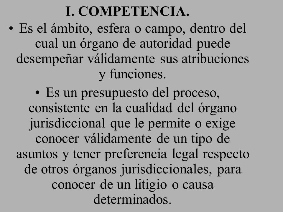 I. COMPETENCIA. Es el ámbito, esfera o campo, dentro del cual un órgano de autoridad puede desempeñar válidamente sus atribuciones y funciones.