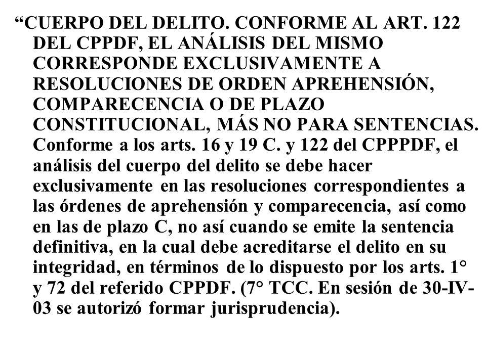 CUERPO DEL DELITO. CONFORME AL ART