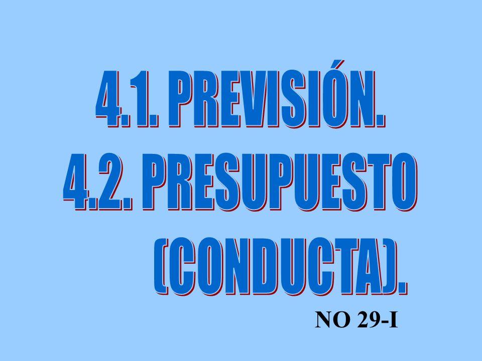 4.1. PREVISIÓN. 4.2. PRESUPUESTO (CONDUCTA). NO 29-I
